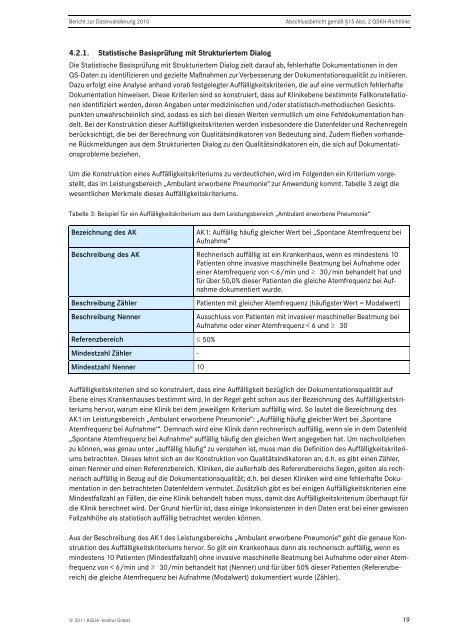 Bericht zur Datenvalidierung 2010 (Erfassungsjahr 2009) - SQG