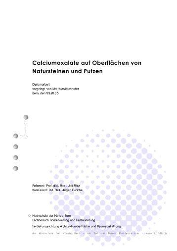 Calciumoxalate auf Oberflächen von Natursteinen und Putzen