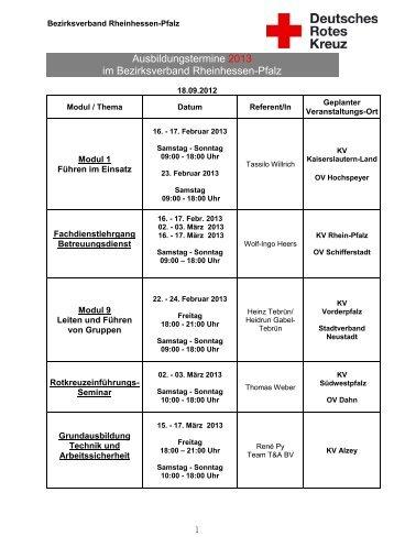 der Ausbildungsplan für 2013 - DRK Bezirksverband Rheinhessen ...