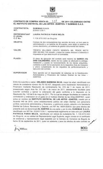 idartes- y sumimas sas - Portal Único de Contratación