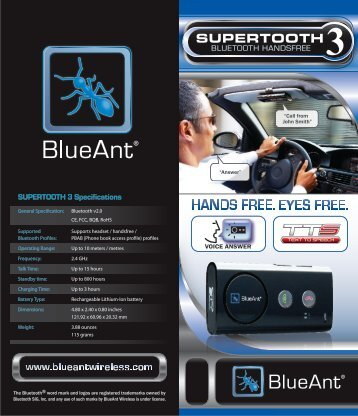 SUPERTOOTH 3 Specifications - BlueAnt Wireless