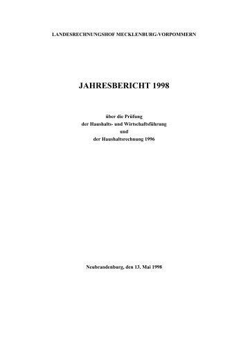 jahresbericht 1998 - Landesrechnungshof Mecklenburg-Vorpommern
