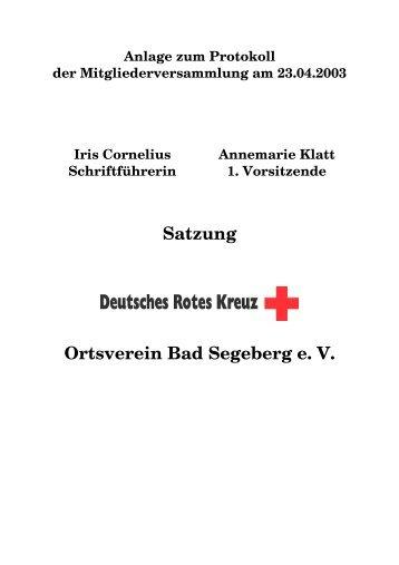 Satzung DRK OV Bad Segeberg - DRK Ortsverein Bad Segeberg