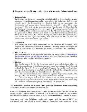 Voraussetzungen für den erfolgreichen Abschluss ... - Universität Wien