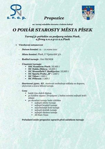 O POHÁR STAROSTY MĚSTA PÍSEK - HC Tábor 1997