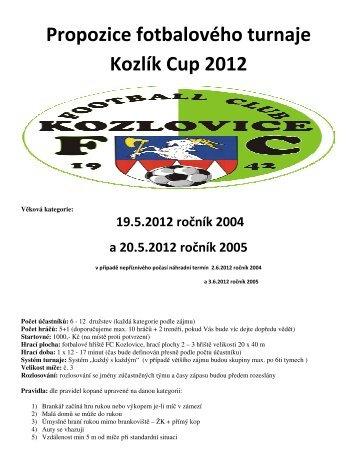 Propozice fotbalového turnaje Kozlík Cup 2012 19.5 ... - FC Kozlovice