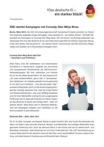 IDEi startet Kampagne mit Comedy-Star Mirja Boes - Deutsche Eier