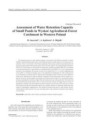 Assessment of Water Retention Capacity of Small Ponds in Wyskoć ...