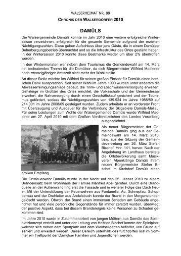 Chronik der Gemeinde Damüls für das Jahr 2010 - Vorarlberger ...