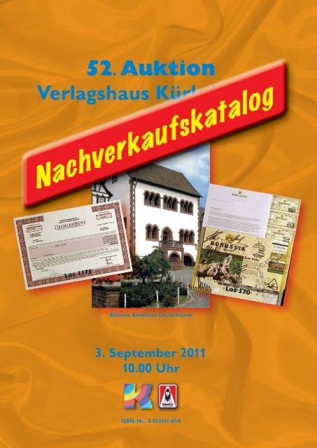 52. Auktion Verlagshaus Kürle/Raab 3. September 2011 10.00 Uhr