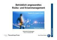 Betrieblich angewandtes Risiko - Netzwerk Risikomanagement