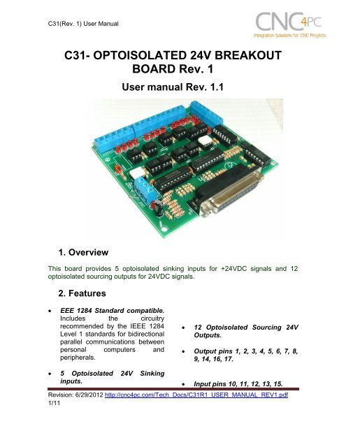 C31- OPTOISOLATED 24V BREAKOUT BOARD Rev  1 - CNC4PC