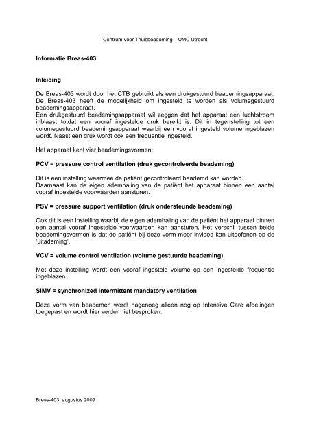 Informatie Breas-403 Inleiding De Breas-403 wordt ... - UMC Utrecht