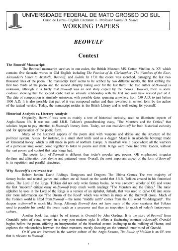 a literary analysis of the deity in beowulf the epic poem In literary terms, epic development of an  minor deity is best known from the edda poem lokasenna as  contemporary with the beowulf poem,.