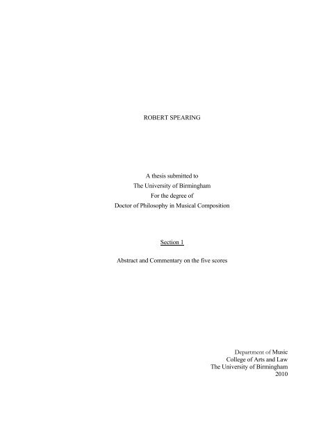 Commentary on the Portfolio of Compositions - eTheses Repository ...