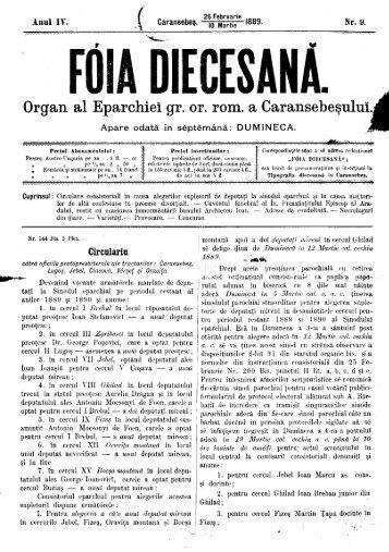DIECESANA. Organ al Eparchiei gr. or. rom. a Caransebeşului.