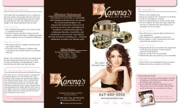847-695-2255 Reminders Bridal Services - Karena's Salon and Spa