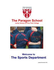 The Paragon School The Sports Department - The Paragon Junior ...