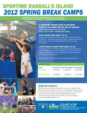 2012 SPRING BREAK CAMPS - SportimeNY