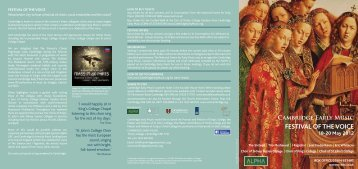 Cambridge Early Music FESTIVAL OF THE VOICE 18-20 May 2012