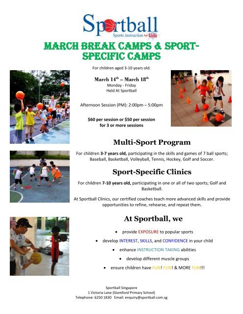 March Break Camps Sport Specific Camps Sportball Singapore
