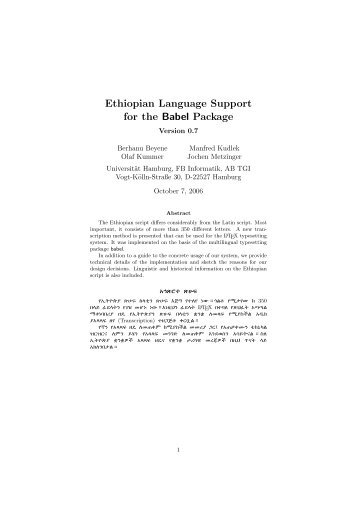 Ethiopian Language Support for the Babel Package - TeXdoc Online ...