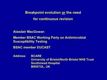 Breakpoint evolution or the need for continuous revision - eucast