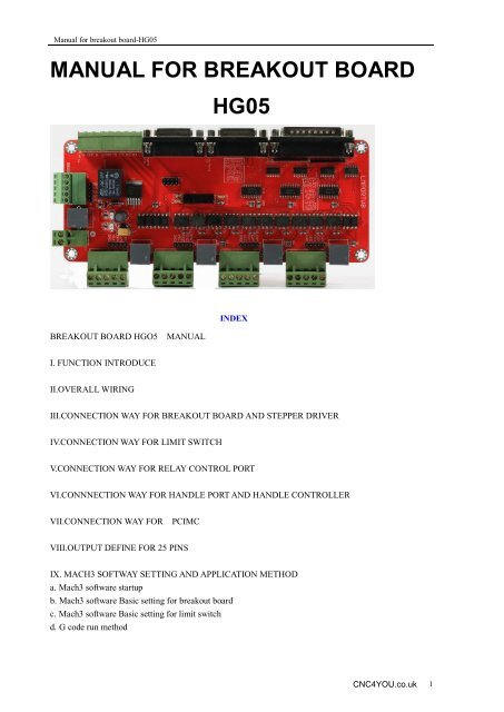 manual for breakout board hg05 - CNC4YOU for your CNC Parts