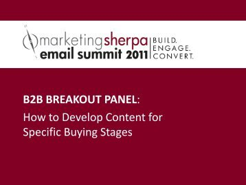 B2B BREAKOUT PANEL: How to Develop ... - MarketingSherpa