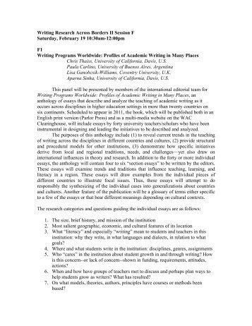 Session F - Writing Program - University of California, Santa Barbara