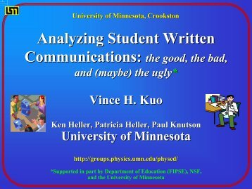Analyzing Student Written Communications - School of Physics and ...