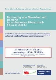 Demenzbetreuung nach § 45a-d SGB XI 1-2013 - Volkshochschule ...