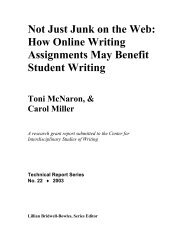 Not Just Junk on the Web - Center for Writing - University of Minnesota