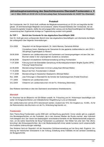 Protokoll der Jahreshauptversammlung 2009 - Geschichtsverein ...