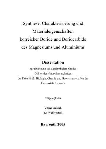 Synthese, Charakterisierung und Materialeigenschaften borreicher ...