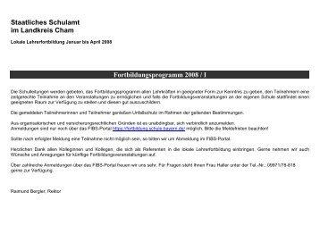 Fortbildungsprogramm 2008 / I - Staatliches Schulamt Cham