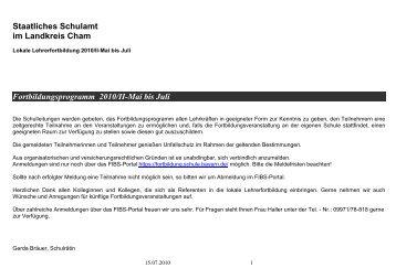 Staatliches Schulamt im Landkreis Cham Fortbildungsprogramm ...