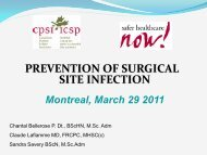 prevention of surgical site infection - Safer Healthcare Now!