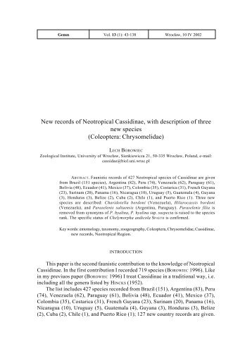 New records of Neotropical Cassidinae, with description of three ...
