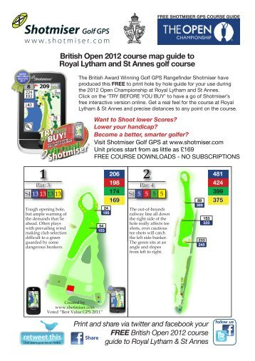 British Open 2012 course map guide to Royal Lytham and St Annes ...