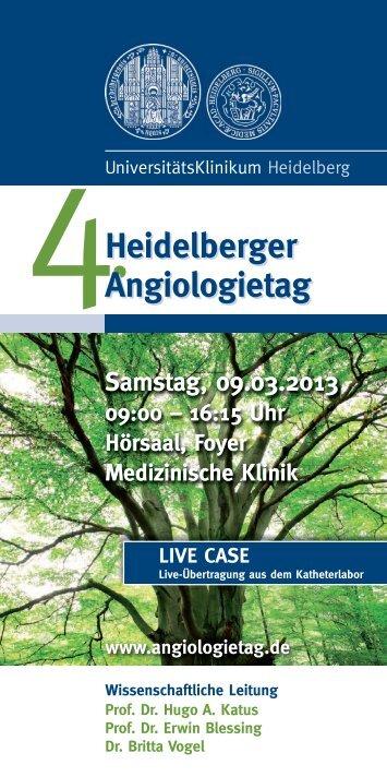 Heidelberger Angiologietag Heidelberger Angiologietag