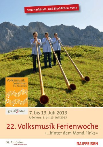 Volksmusiksommer 2013 - St. Antönien Tourismus