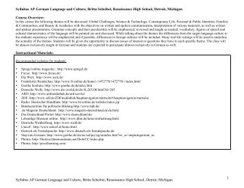 Syllabus AP German Language and Culture, Britta Scheibel ...