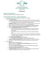 General Membership Meeting Meeting Notes Welcome and ... - LPHA