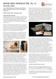 BOOK ARTS NEWSLETTER No. 31 December 2006