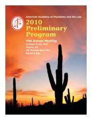 APPL Prel 2010 - American Academy of Psychiatry and the Law