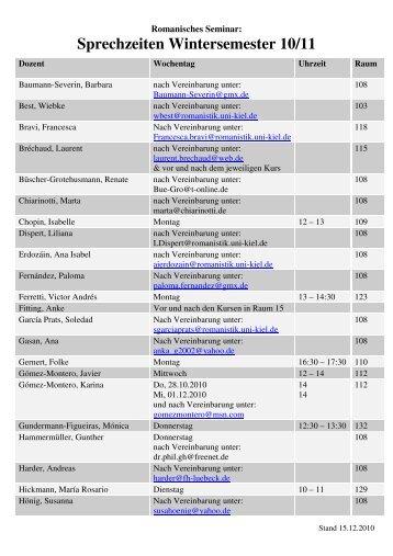 Sprechzeiten Wintersemester 10-11 - Romanisches Seminar
