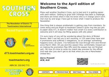 the April edition of Southern Cross. - District 73 Toastmasters