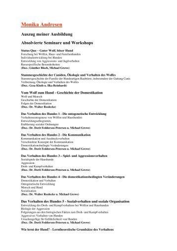 Monika Andresen Auszug meiner Ausbildung Absolvierte Seminare ...