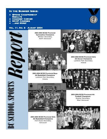 In The Summer Issue - BC School Sports